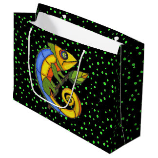 Colorful Fun Lizard Branch Dots Large Gift Bag