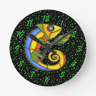 Colorful Fun Lizard Branch Dots Round Clock