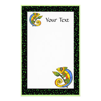Colorful Fun Lizard on a Branch Stationery