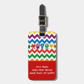 Colorful Fun Monsters Cute Chevron Striped Pattern Luggage Tag