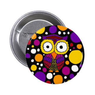 Colorful Fun Owl Abstract Original Pin