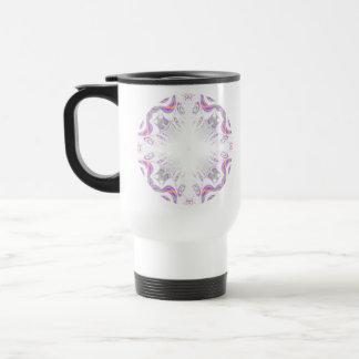 Colorful fun pattern. White, Purple, Orange. Travel Mug