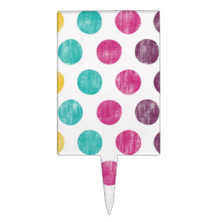 Colorful Fun Retro Polka Dot Pattern Cake Topper