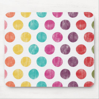 Colorful Fun Retro Polka Dot Pattern Mouse Pad
