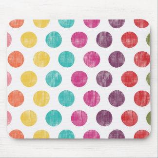 Colorful Fun Retro Polka Dot Pattern Mouse Pad