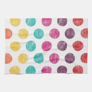 Colorful Fun Retro Polka Dot Pattern Hand Towel
