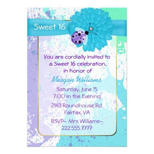 Colorful Fun Sweet 16 Birthday Party Invitation
