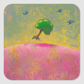 Colorful fun unique art flying tree blue birds stickers