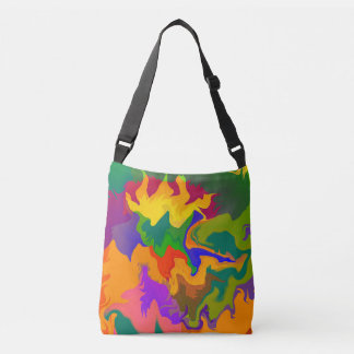 Colorful Funky Abstract Swirly Camouflage Crossbody Bag