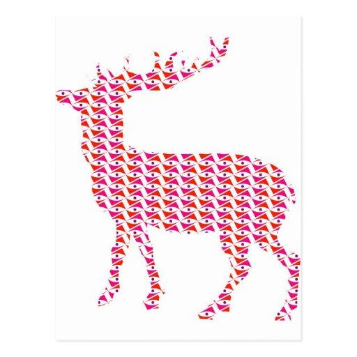 Colorful funky deer post card