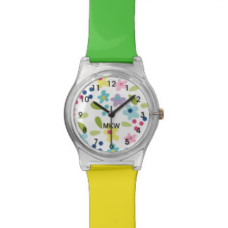 Colorful Funky Flowers Girl's Watch