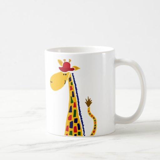 Colorful Funky Giraffe Art Coffee Mug