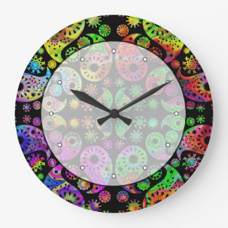 Colorful Funky Paisley Pattern. Large Clock