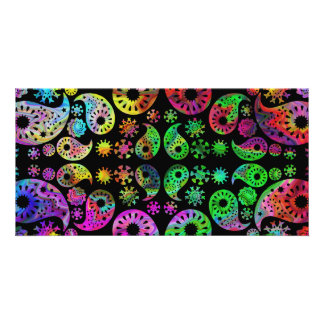 Colorful Funky Paisley Pattern. Photo Greeting Card
