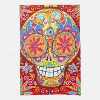 Colorful Funky Sugar Skull Kitchen Towel