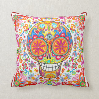Colorful Funky Sugar Skull Pillow