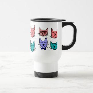 Colorful Funny Cartoon Cat Faces Mug