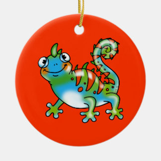 Colorful funny lizard christmas ornament