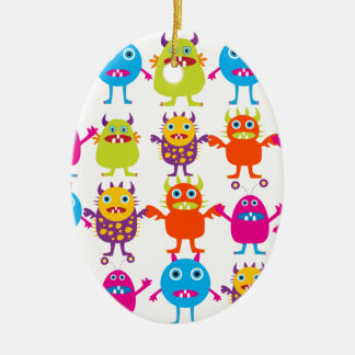 Colorful Funny Monster Party Creatures Bash Christmas Tree Ornament