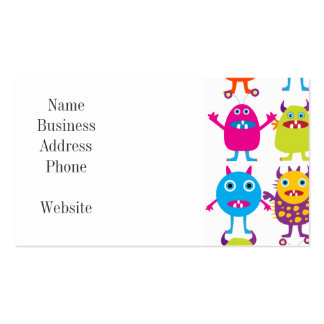 Colorful Funny Monster Party Creatures Bash Pack Of Standard Business Cards
