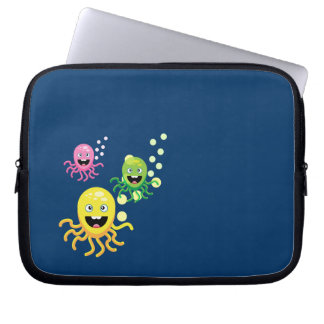 Colorful funny octopi laptop sleeve