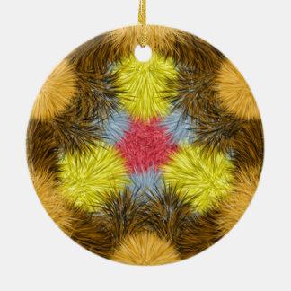 Colorful furry kaleidoscope ornaments
