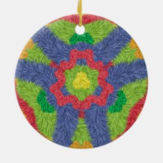 Colorful furry pattern round ceramic decoration