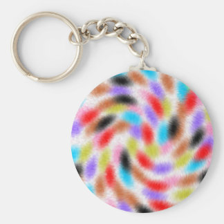 Colorful fussy basic round button key ring