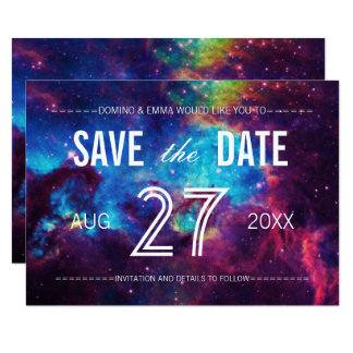 Colorful Galaxy Save the Date Card