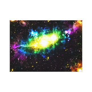 Colorful galaxy space nebula stars illustration stretched canvas prints