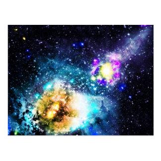 Colorful galaxy space nebula stars illustration post card