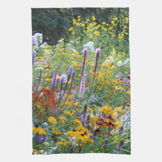 Colorful Garden Along the Pathway Tea Towel