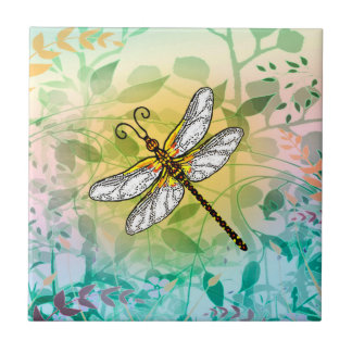 Colorful Garden Dragonfly Tile
