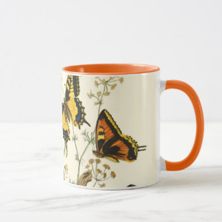 Colorful Gathering of Butterflies and Caterpillars Mug