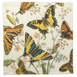 Colorful Gathering of Butterflies and Caterpillars Napkin