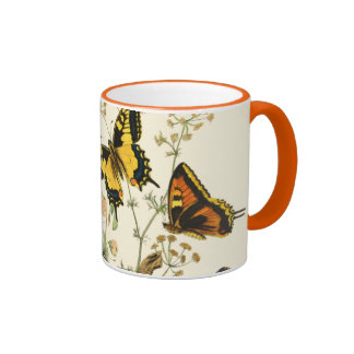Colorful Gathering of Butterflies and Caterpillars Ringer Mug