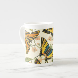 Colorful Gathering of Butterflies and Caterpillars Tea Cup
