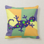 Colorful Gecko Art Throw Pillow