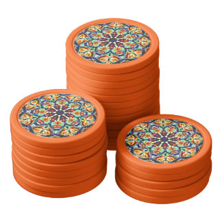 Colorful Geometric Abstract Poker Chips