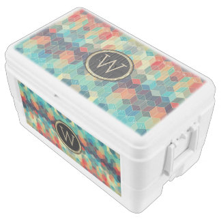 Colorful Geometric Cubes Pattern Monogram Chest Cooler