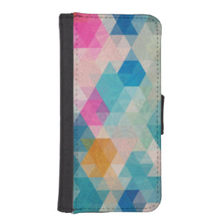 Colorful Geometric Cubes With Paisley Overlay iPhone SE/5/5s Wallet Case