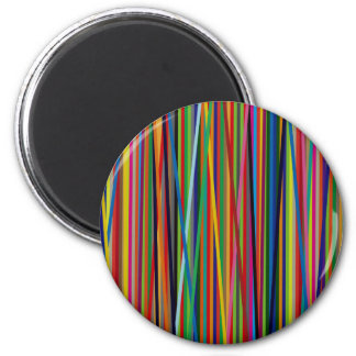 Colorful Geometric Lines 6 Cm Round Magnet