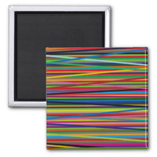 Colorful Geometric Lines Square Magnet