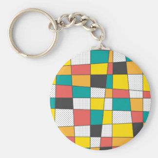 Colorful geometric pattern basic round button key ring
