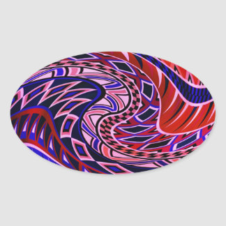 Colorful Geometric Pattern Oval Stickers