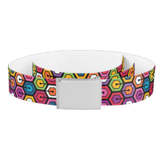 Colorful geometric pattern with hexagons belt