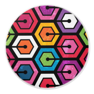 Colorful geometric pattern with hexagons ceramic knob