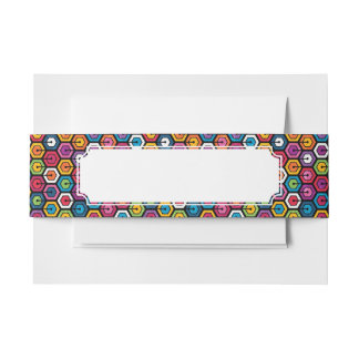 Colorful geometric pattern with hexagons invitation belly band