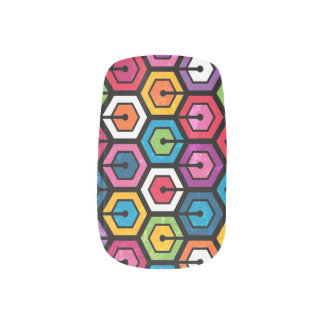 Colorful geometric pattern with hexagons minx nail art