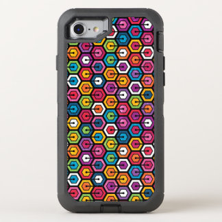Colorful geometric pattern with hexagons OtterBox defender iPhone 8/7 case